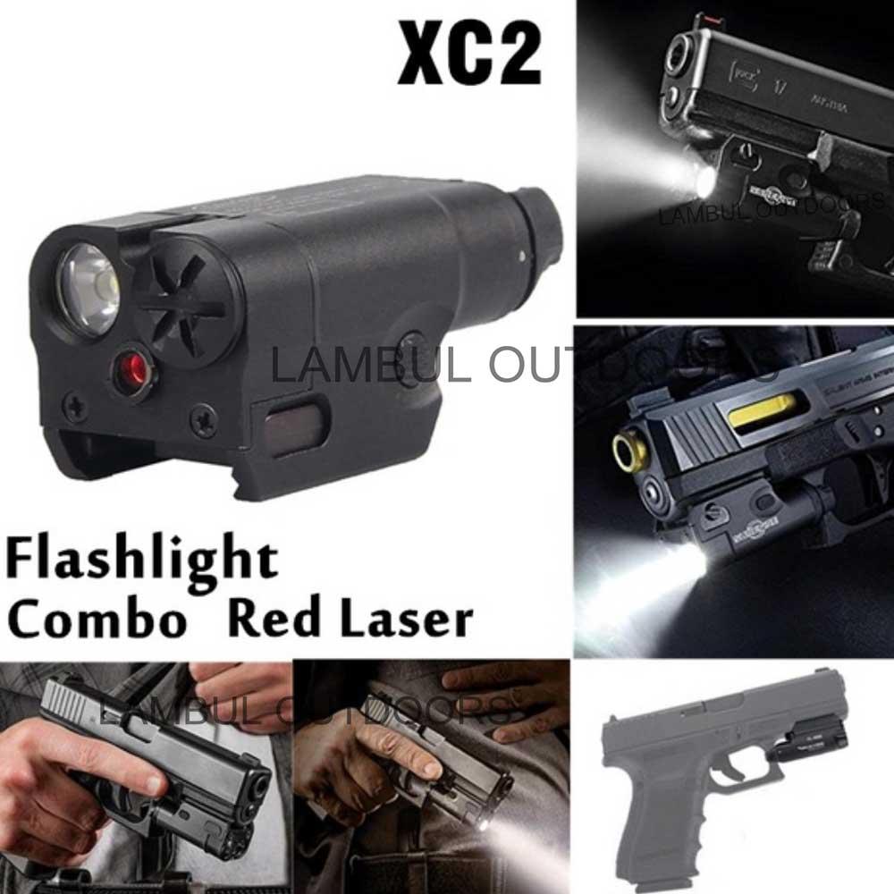 XC2 Ultra Laser Light Compact Pistol Flashlight Combo Red Dot Laser Tactical LED MINI White Light