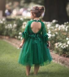 Vestidos nuas de flores para meninas, vestidos de bebê com costas nuas, verde, vermelho, de buzina, vestido de natal europeu, vestidos para crianças