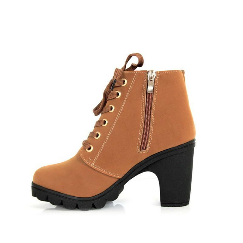 2018 Autumn Winter Women Boots High Heel Lace Up Zip Platform Ankle Boots for Ladies Fashion PU Leather Shoes 133
