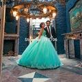 Modest Menta Con Cuentas Vestidos De Fiesta 2016 Vestido de Fiesta Largo Delicado Appliques Sin Tirantes Piso-Longitud Vestidos de Quinceañera vestido de 15 años