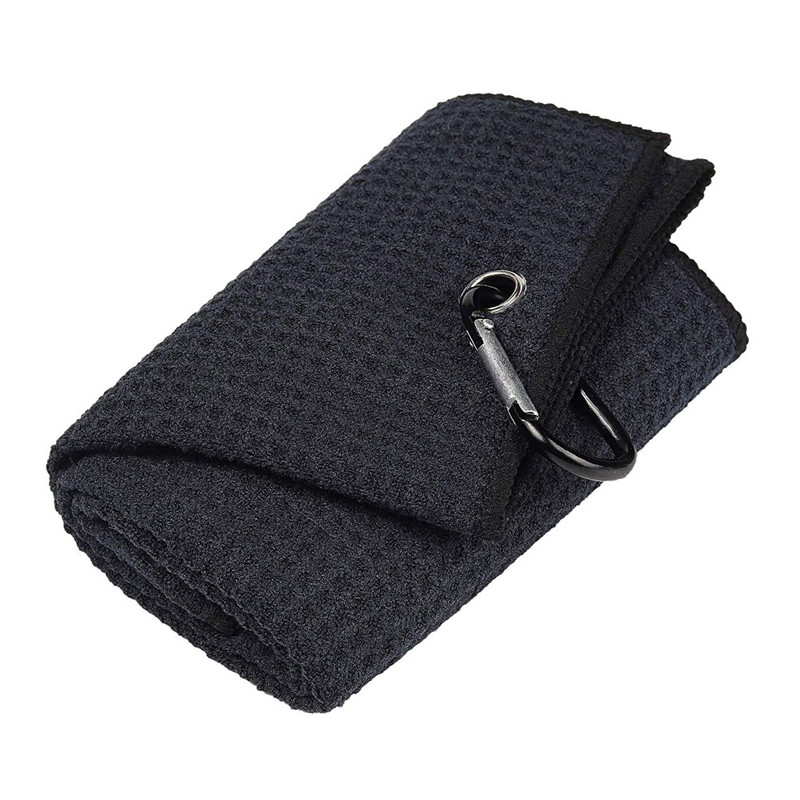 Image 2 - New Black 32*40cm  Cotton Golf Towel Cleaning Sport Towel Comfort Washcloth Golf Towels With Bag Hook Golf Training Aids-in Golf Training Aids from Sports & Entertainment