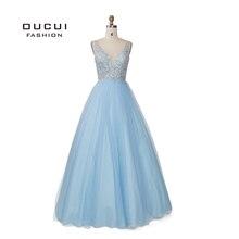 السماء الزرقاء الأبيض يزين الزهور فساتين لحضور الحفلات الموسيقية 2019 مثير الخامس الرقبة أنيقة المرأة فستان الزفاف مساء Vestido De Novia OL103448