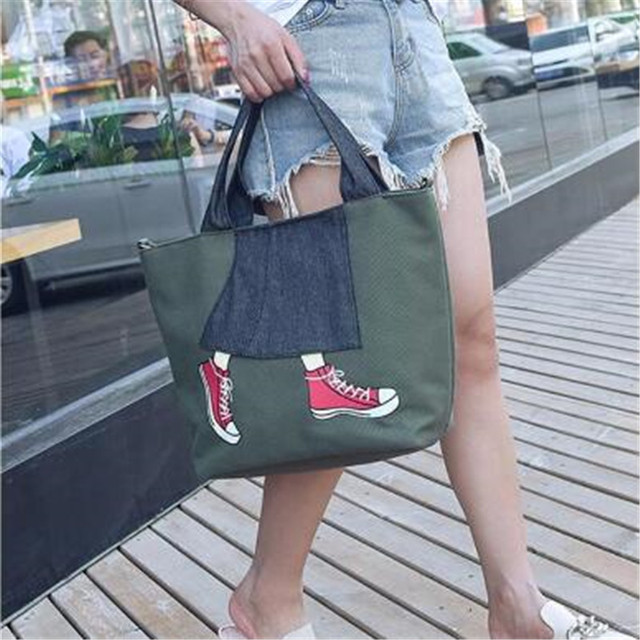 2018 New Products Big tote Female Fashion Style Women Canvas 3 Colors of Black ,Green,Blue Convenient Shoulder Bags For Women