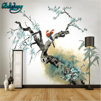 beibehang Custom Wallpapers Plum Blossom Background Wall Hand Plum Blossom New Chinese Style Stroke
