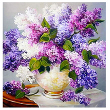 5D Diamond Mosaic Round Drill Cross Stitch Flower Lavender Cross Stitch DIY Diamond Painting Flowers Home Decoration