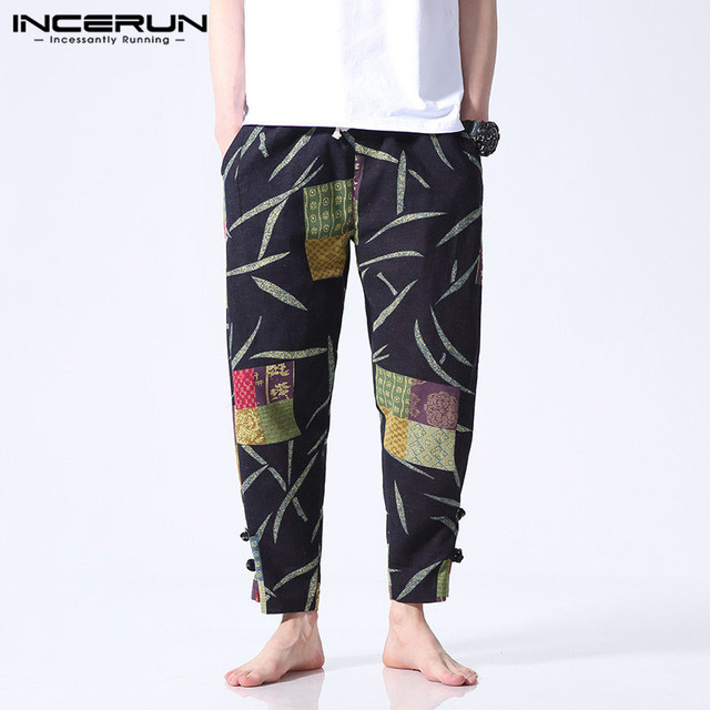 Boho Floral Cotton Men Pants Casual Wide Legs Pants Loose Fitness Pants Baggy Button Ankle-Length Trousers Ethnic Style