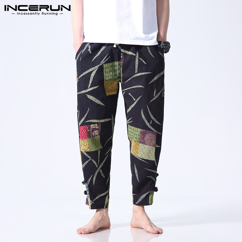 INCERUN Ethnic Floral Printed Men Pants Casual Wide Legs Pants Casual Fitness Baggy Cotton Streetwear Harem Trousers Joggers9 4