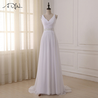 Cheap Beaded Strap Pleated Wedding Dresses 2017 Sexy V Neck Chiffon Bridal Gowns Vestido De Novia