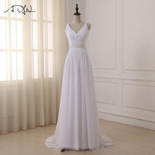 ADLN Beaded Straps Pleated Wedding Dresses 2017 Sexy V-neck Chiffon Beach Bridal Gowns Vestido De Novia In Stock(China)