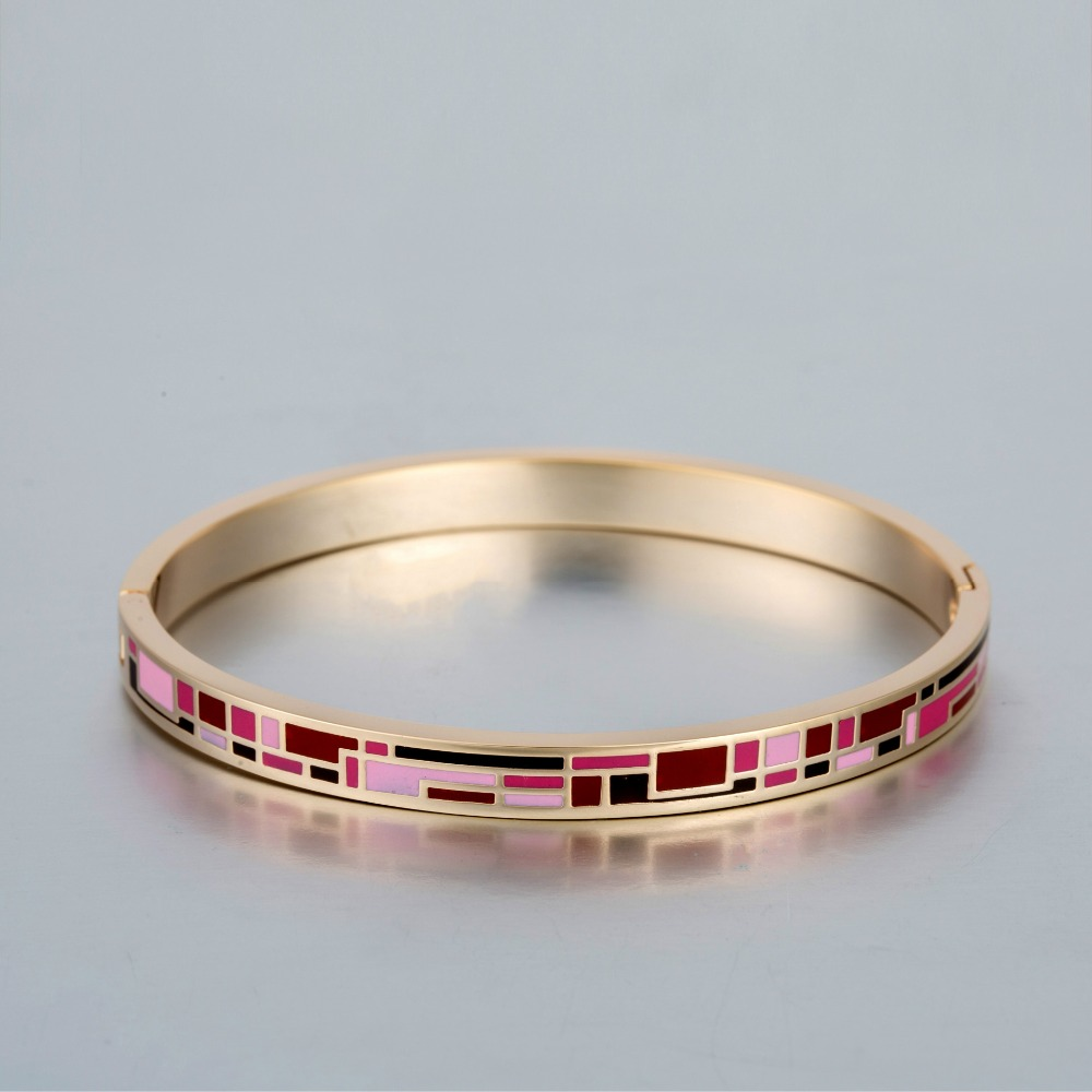 Handmade Process Geometric Enamel Opem Bangle for Women Best Friend Gifts Cuff Bracelet 6mm Width Pulseras Mujer Braslet