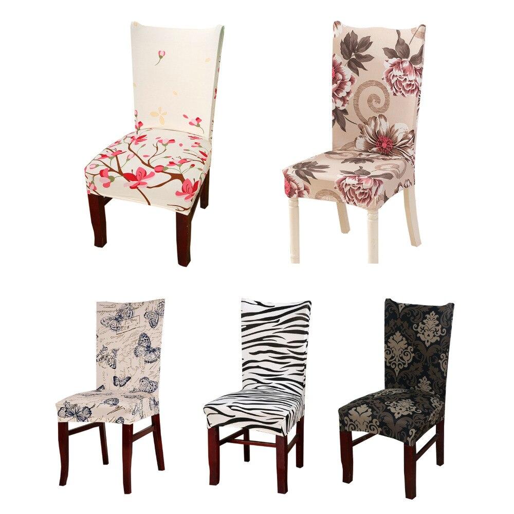 Спандекс Печати обеденный стул чехол современные съемные анти-грязный Кухня сиденье Чехол стрейч Чехлы для стульев для банкета