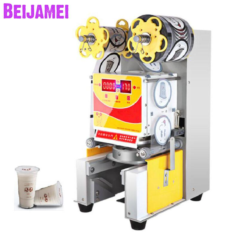 BEIJAMEI 110v 220v Bubble Tea Cup Sealing Machine Automatic Plastic Bubble Tea Sealer Machine Commercial Cup SealerBEIJAMEI 110v 220v Bubble Tea Cup Sealing Machine Automatic Plastic Bubble Tea Sealer Machine Commercial Cup Sealer