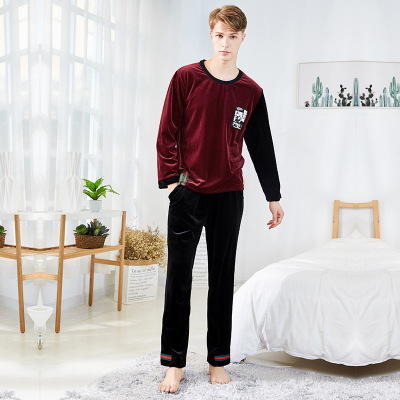 Pajamas Matching Long-Sleeve Two-Sets Home-Wear Winter Men's Autumn Velvet Head-Color