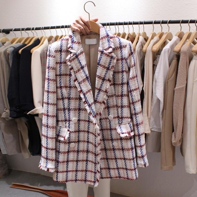 2019 Vintage Tweed Blazer Women Double Breasted Plaid Office Long Blazers Coat Spring Autumn Long Sleeve Women's Jackets Blazer