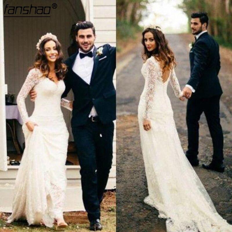 Beach Wedding Dresses Mermaid V-neck Long Sleeves Lace  Vestido De Noiva 2019 Boho Dubai Arabic Wedding Gown Bridal Dresses