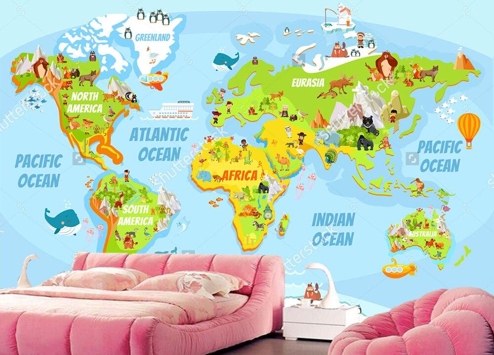 Favoriete Aangepaste kinderen behang, Cartoon wereldkaart met veel grappige  NX26