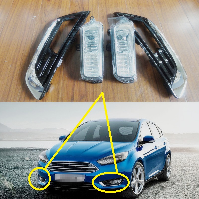 1 Set Driving Bumper Fog Lamp lights kits With Gloss Black Bezel Covers for Ford Focus 2015