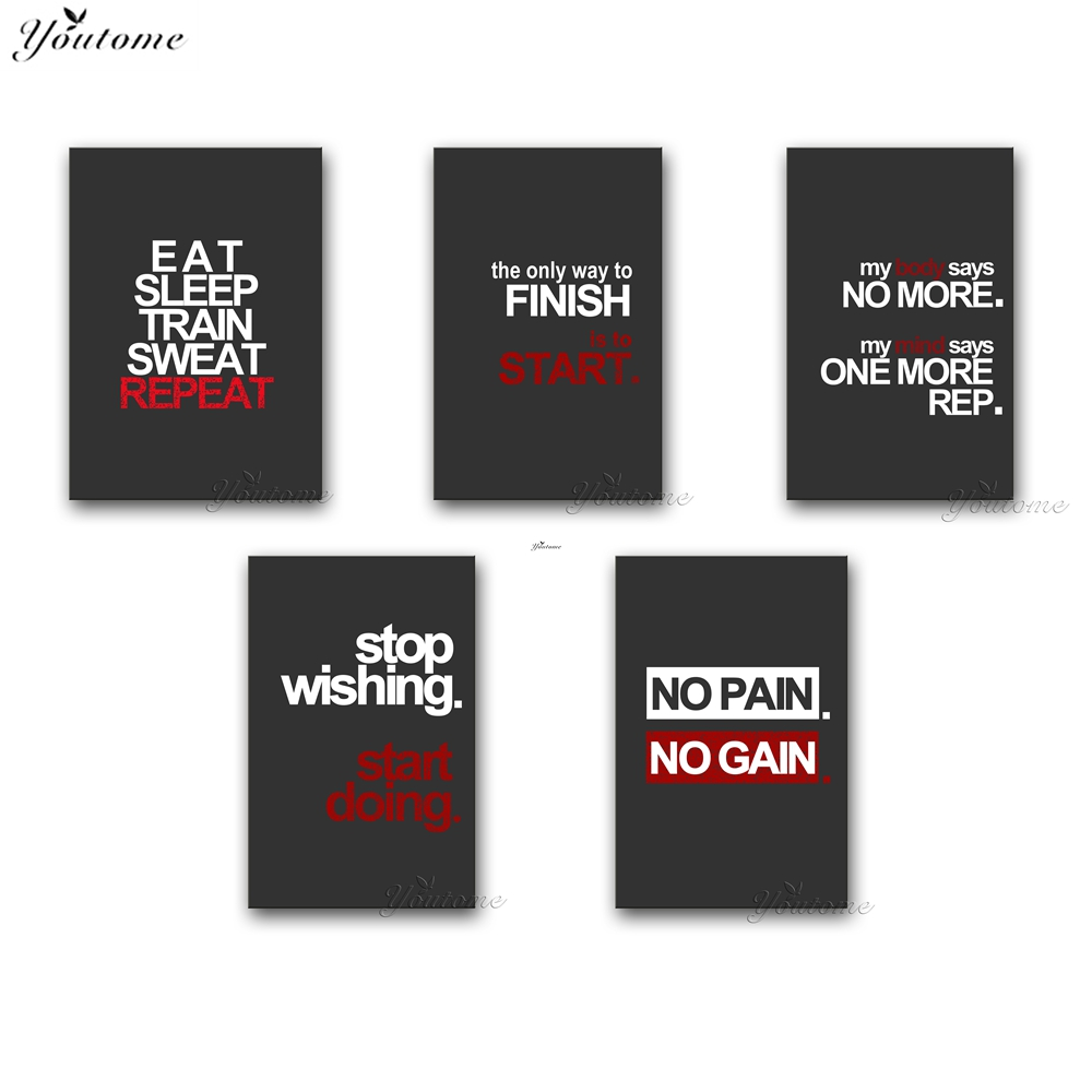 Gym Wall Canvas Art Fitness Motivation Poster Vinyl Decalinspiration Quotes Picture Home Painting With Free Shipping Worldwide Weposters Com