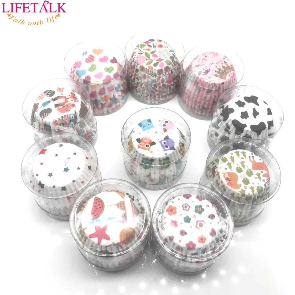 LIFETALK 100pcs 10 Designes For Choose Birthday Cake Decorating Baking Tools Mini Paper Cupcake Cups
