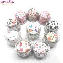 LIFETALK 100pcs 10 Designes For Choose Birthday Cake Decorating Baking Tools Mini Paper Cupcake Cups