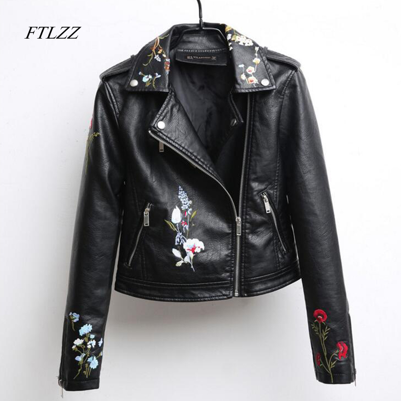 Ftlzz Autumn Embroidered Leather Jacket Women Fashion Slim Vintage Pu Leather Motorcycle Jacket Short Design Zipper Black Coats fleece graphic embroidered pu leather jacket