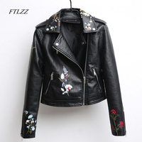 Ftlzz Autumn Embroidered Leather Jacket Women Fashion Slim Vintage Pu Leather Motorcycle Jacket Short Design Zipper