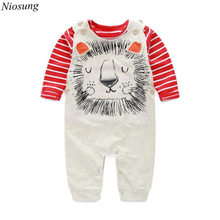 Niosung Baby Boys Pants Sets Stripe Long Sleeve T-shirt Top + Cool Bib Pants Rompers Overall Outfits Kids Child 2pcs Clothing S