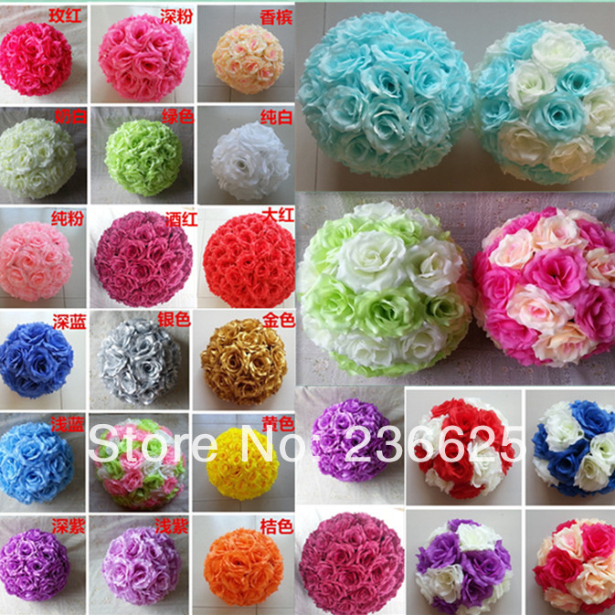 28colors 20cm/ 8 inch Wedding Decorations Silk Kissing Pomander rose ...