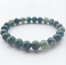 8mm Beads Moss Grass Agat Natural Stone Round Loose Green Bracelet Fashion Crystal Jewelry Bangles