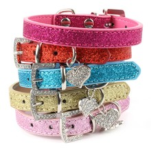 Hot Bling Crystal Pendant Leather Pet Dog Collars Puppy Cat Choker Necklaces