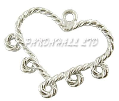 Valentine Jewelry Ornaments Heart Alloy Pendant Chandelier Components Lead Free and Cadmium Free Antique Silver Color 29x34mm