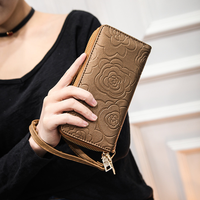 купить 2018 New Fashion Women Wallets Flower Printing PU Purses Women's Long Design Multi-card Position Clutch Wallet Carteira Feminina по цене 509.3 рублей