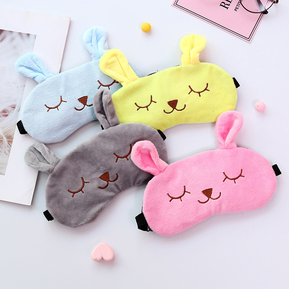 1PC Cute Cartoon Eye Mask Travel Sleep Adjustable Elastic Strap Plush Cute Sleeping Rabbit Eye Mask Bag Eye Cover Sleep Eyeshade