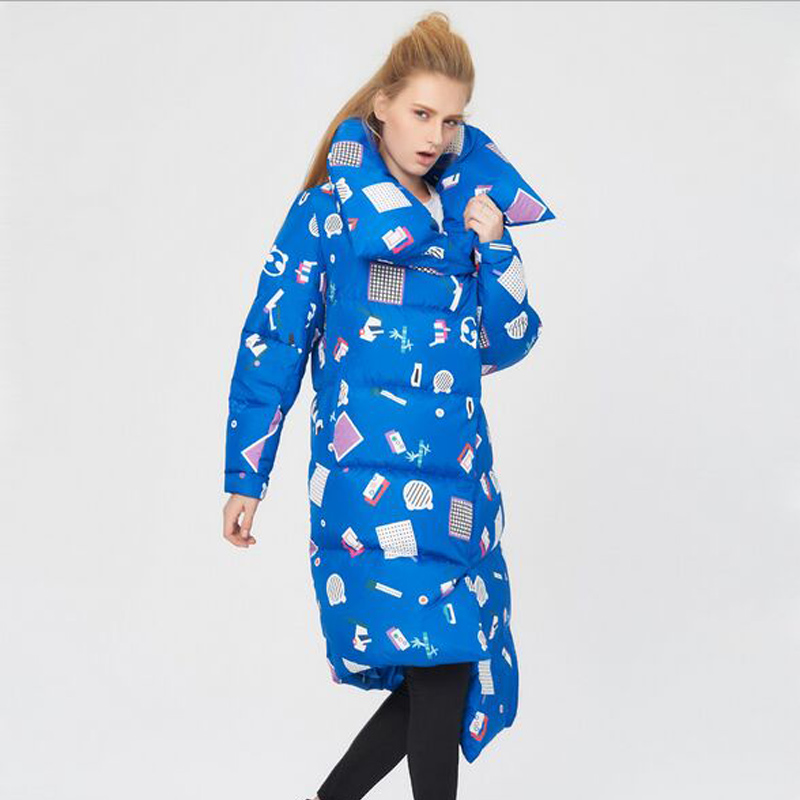 High Quality Winter   Coat   Women 2019 New Fashion Winter Jacket Women Irregular Printing White Duck   Down   Parka Thicken Warm Jacket