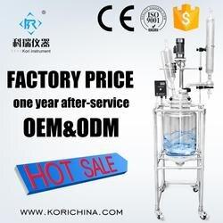 Wysokiej szkła borokrzemowego GG3.3 Bio z płaszczem podwójne wyłożone naczynie reakcyjne cenę z teflonowe uszczelnienie z chin reaktor szklany producenta