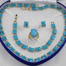 > ожерелье из бирюзового камня браслет серьги кольцо набор