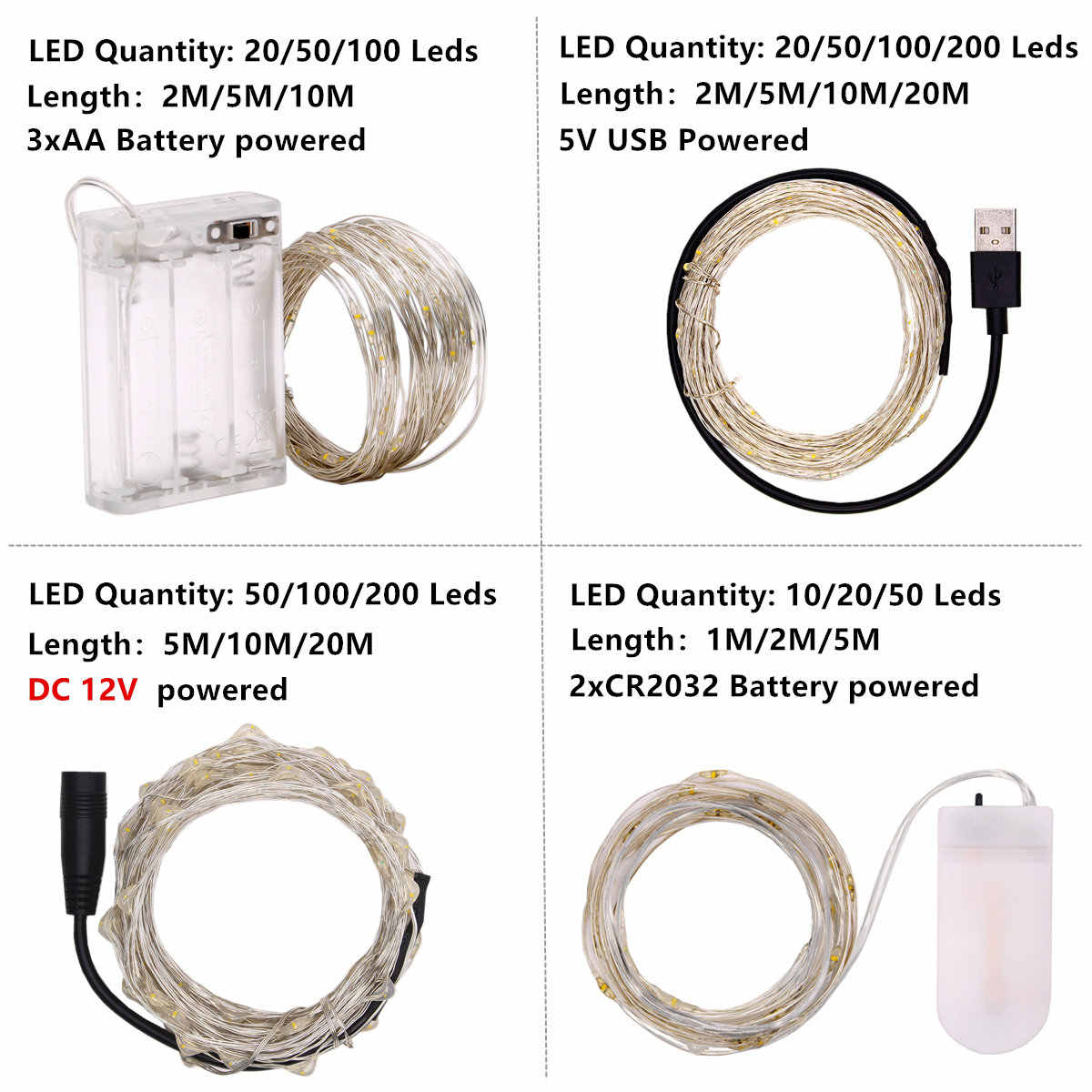 LED String lights For Christmas Holiday lighting New Year Garland Party Wedding Home Decoration Fairy lights Battery