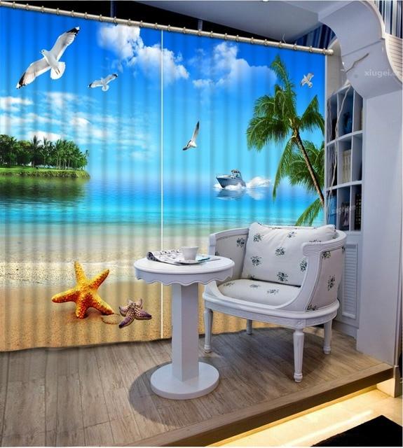 Große Kunst 3d Vorhang Strand Landschaft Moden Foto Vorhang Malerei