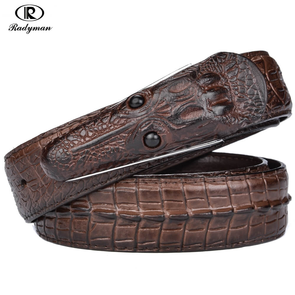 RADYMAN mens ceintures de luxe en cuir hommes ceinture crocodile ... 78f7d8826c0c