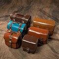 Vendimia de la manera de la pu de cuero a prueba de agua cámaras slr caso panasonnic gadget bag para sony canon nikon dslr cámara