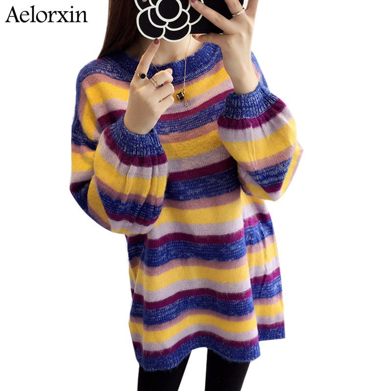 2017 Winter Multi-color Striped Long Sweater Women Fall Knitted Christmas Sweater Pull Femme Hiver Women Sweaters and Pullovers