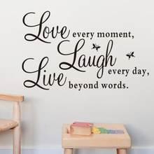 Viver cada momento rir cada dia amor além palavra citação adesivos de parede removível preto carta decalque da parede mural decoração da sua casa aug16