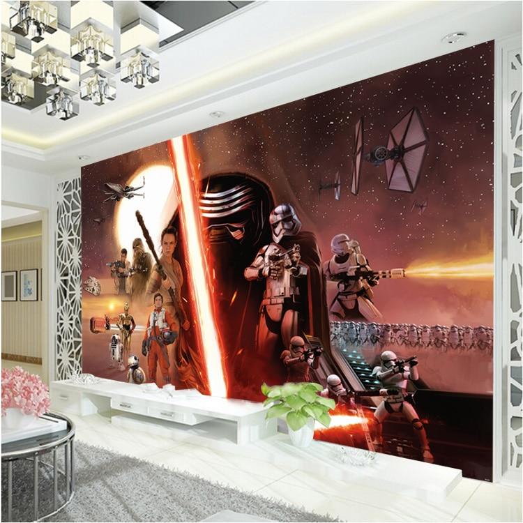 3D Star Wars Wallpaper Force Awakens Wall Mural Custom Photo Wallpaper Boys Bedroom Hotel TV background