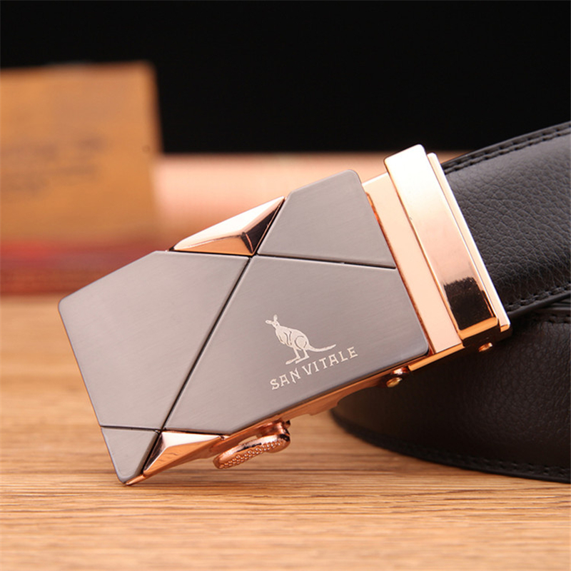 2019 men's   belt   fashion 100% Genuine Leather mens   belts   for men High quality metal automatic buckles Strap male for Jeans cowboy
