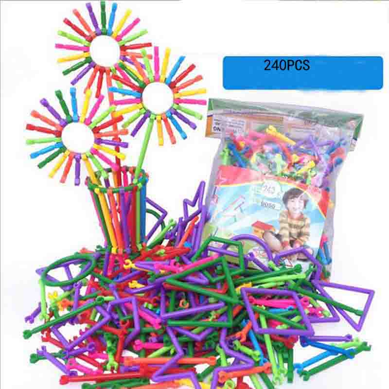 240pcs/set Assemble Smart Bar Building Blocks Stick Plastic Toy Educational Toy Smart For Children