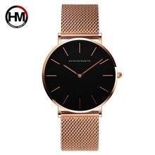 HANNAH Martin Кварцевые часы Женские 2018 модные водонепроницаемые женские часы розовые золотые наручные часы для женщин стальные часы Femme