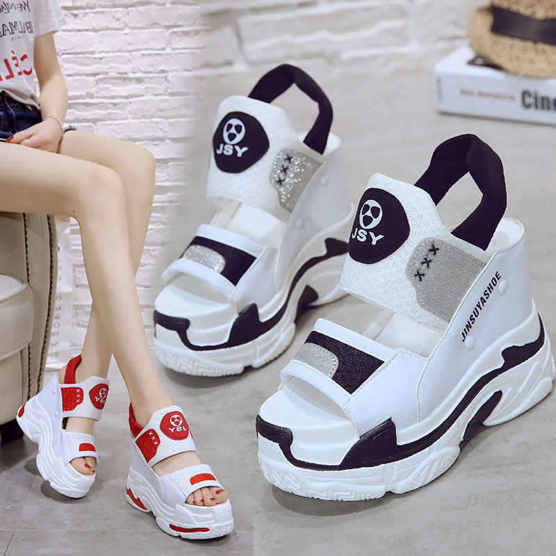 2019 New Summer Women Sneakers Sandals Peep-toe Wedge Platform Shoes Woman 11CM Heels Thick Bottom Casual White Beach Flip Flop