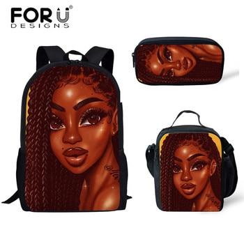 FORUDESIGNS Girls School Bags African Black Girls Hairstyle School Backpack Set Scool Bag For Girl Kids Girl Backpack Junior Bag 25