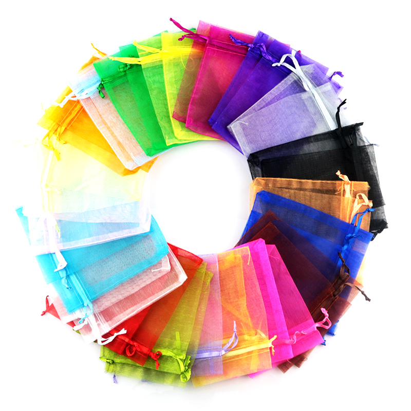 Купить с кэшбэком Gift bags for jewelry wholesale 500pcs mix color 5*7cm solid transparent organza bags small drawstring Embalagem Para Presente