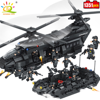 HUIQIBAO TOYS 1351pcs Military Swat Team Building Blocks Transport Helicopter Compatible Legoed City Army Enlighten Bricks Child